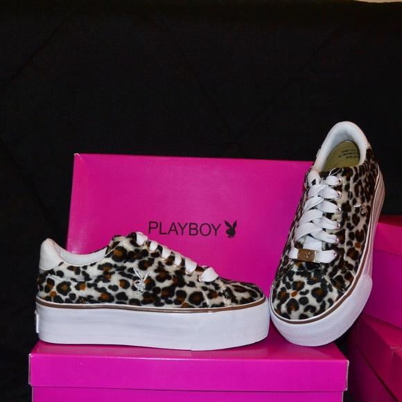65ae59f95daff New! PLAYBOY fuzzy leopard Platform Sneakers 7.5 NWT